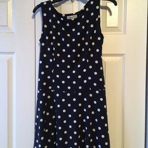 Dress barn navy polka dot dress